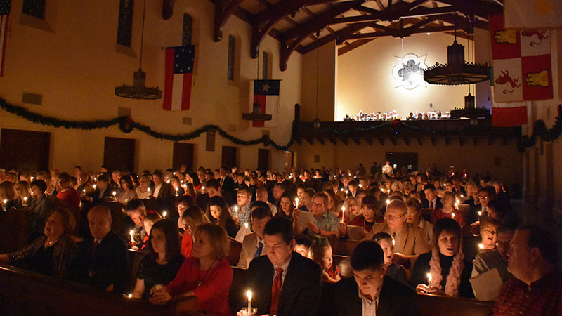 Photo of our sanctuary full during candlelight service