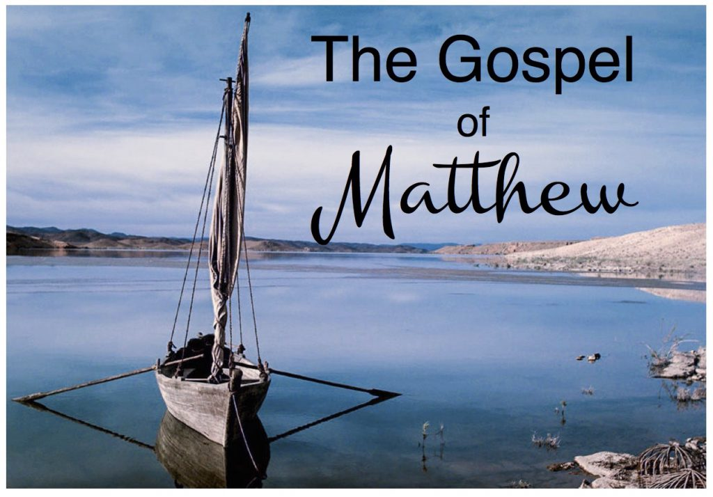 The Gospel of Matthew image showing a boat in water with no one in it.