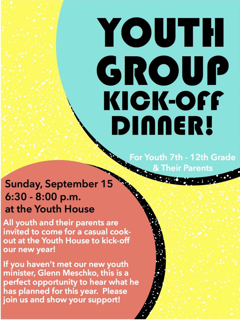 Youth Group Kick-Off Dinner flyer